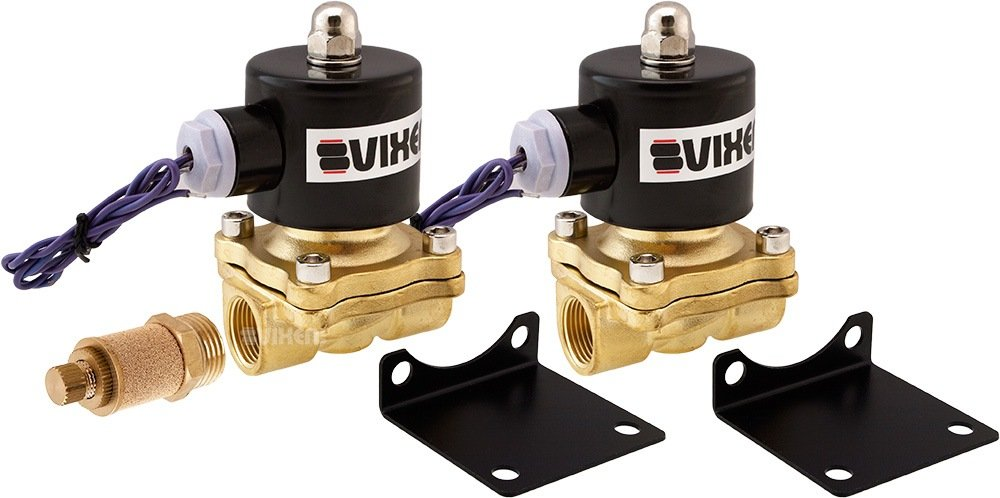 Vixen Air 1/2'' NPT Air Ride Suspension High Flow Electric Air Valve (Solenoid) 210 PSI (2-Pack) with One 1/2'' Flow/Dump Control Valve VXF2012M-2