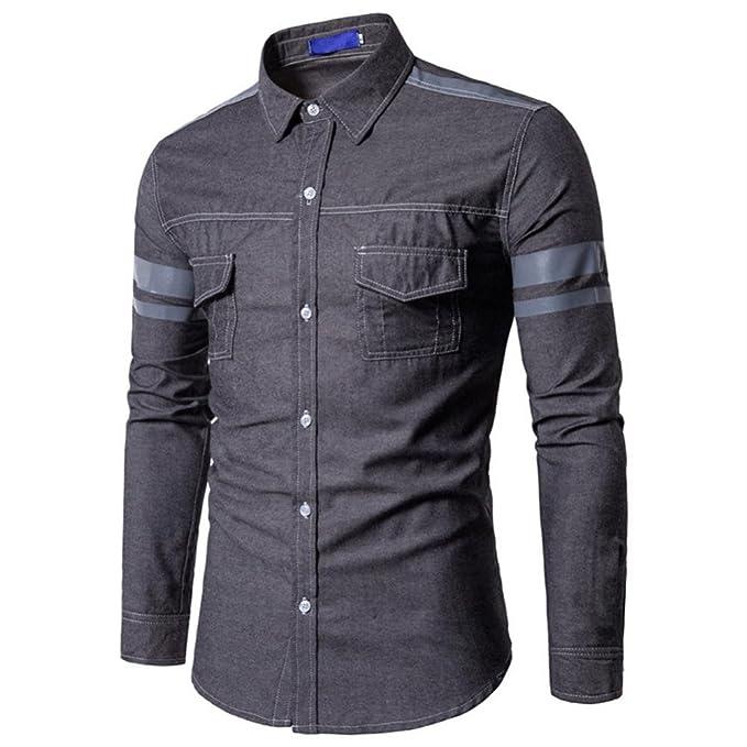 Camisa de Manga Larga de algodón de Manga Larga de algodón de Mezclilla Casual de Moda