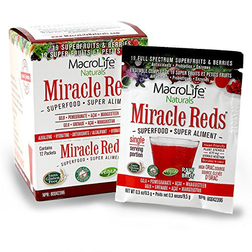 (Miracle Reds Superfood - Super Red Powder - Non Allergenic Proprietary Fruit Blend - Anti Aging Anti Oxidants - Polyphenols & Heart Friendly Plant Sterols - Delicious & Nutritous - Non GMO - Vegan - Gluten & Dairy Free - Berry Taste - Contains 12 Single Serving Packets )