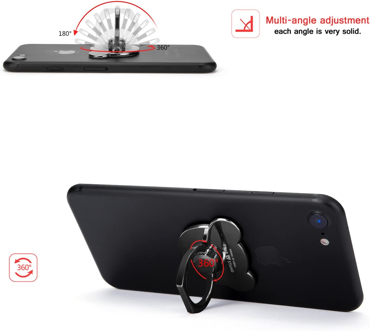 Aiqaa Metal Phone Ring Stand for Smartphones Jet Black