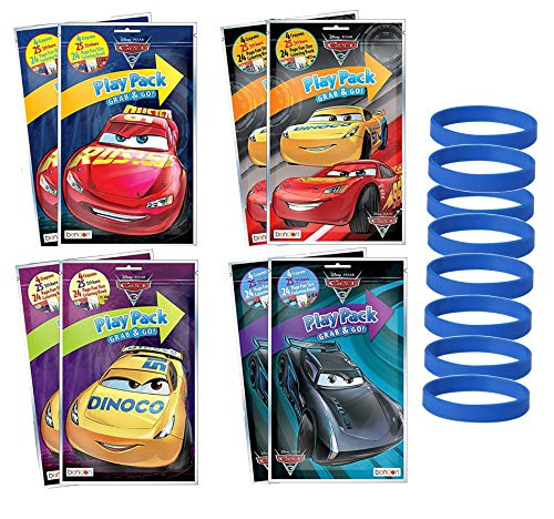 Set of 8 Disney Pixar Cars 3 Birthday Party Supplies Grab & Go Play Pack Coloring Books Play Fun Favors with Crayons Stickers & 8 Bracelets ()