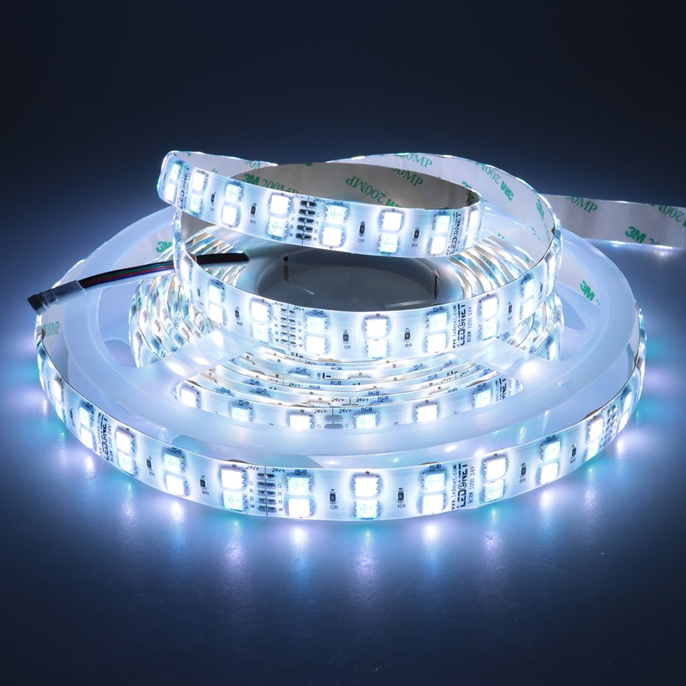 LEDENET 16.4FT Double Row SMD 5050 RGBW Color Changing Flexible LED Strip DC 24V 5M 600LEDs Waterproof IP65 Silcone Coating (RGB+CW)