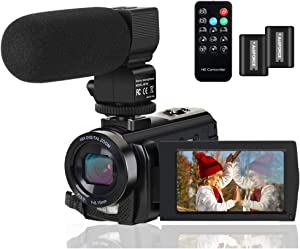 Video Camera Camcorder Digital YouTube Vlogging Camera Recorder FHD 1080P 24.0MP 3.0 Inch 270 Degree Rotation Screen 16X Digital Zoom Camcorder with Microphone,Remote Control and 2 Batteries.