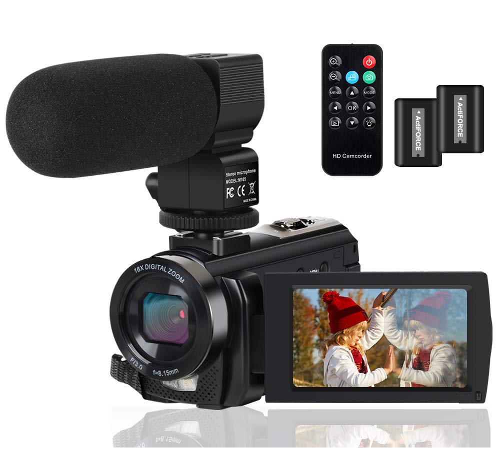 Video Camera Camcorder Digital YouTube Vlogging Camera Recorder FHD 1080P 24.0MP 3.0 Inch 270 Degree Rotation Screen 16X Digital Zoom Camcorder with Microphone,Remote Control and 2 Batteries by ALSONE