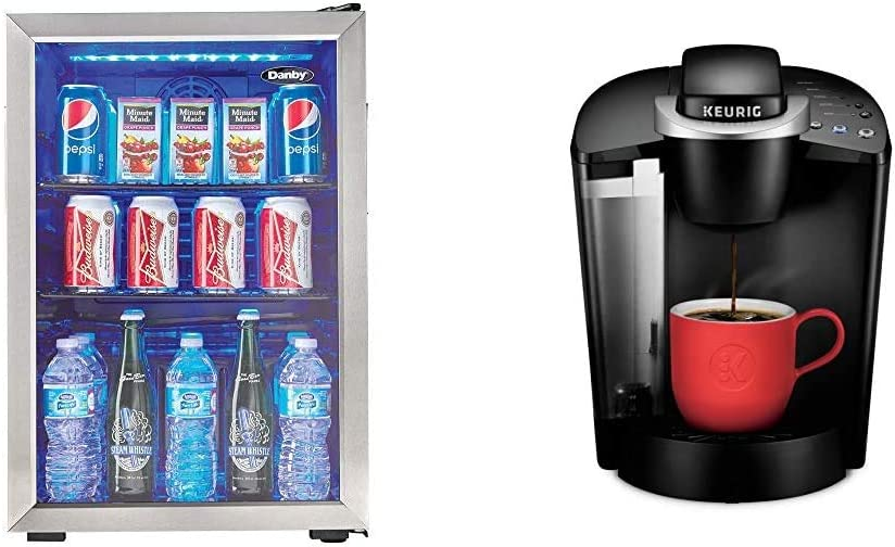 Danby DBC026A1BSSDB 95 Can Beverage Center, 2.6 Cu.Ft Refrigerator, Black/Stainless-Steel & Keurig K-Classic Coffee Maker, Single Serve K-Cup Pod Coffee Brewer, 6 to 10 Oz. Brew Sizes, Black
