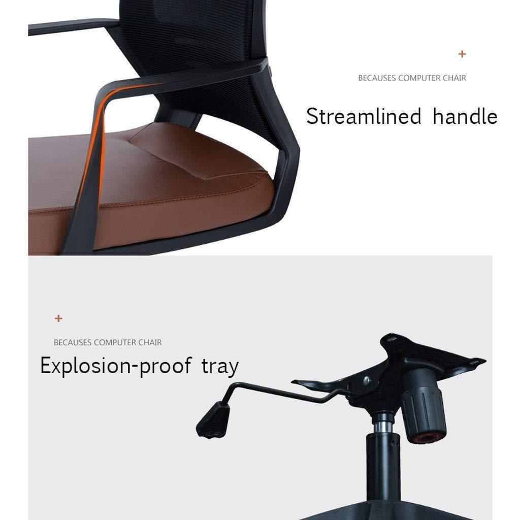 ZXL kontorsstol med ryggstöd, datorbordsstol, nackstöd, armstöd, falskläderkudde och nät, nylonram, justerbar sitthöjd, ergonomisk (färg: svart) Brun