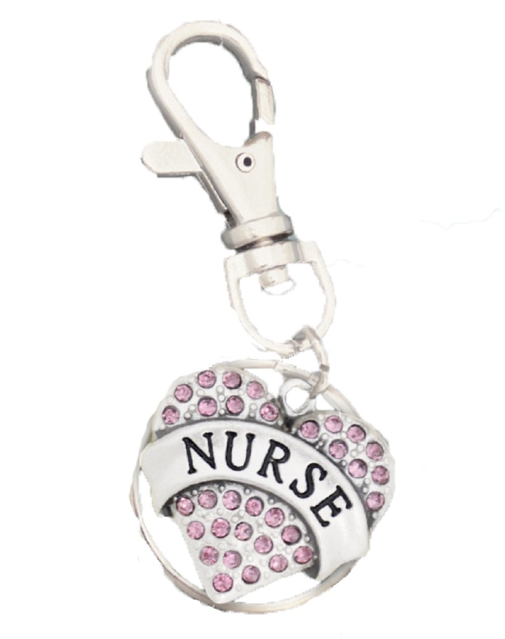 NURSE Engraved Pink Crystal Rhinestone Key Chain.Perfect Gift For your Hospital or Home Health Nurse.