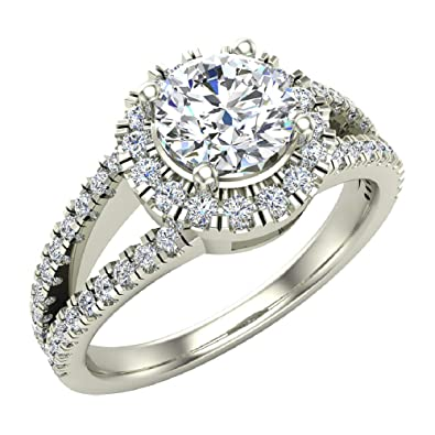 08b788418c07e Split Shank Halo Diamond Ring 1.20 ctw Engagement Ring 14K Gold ...