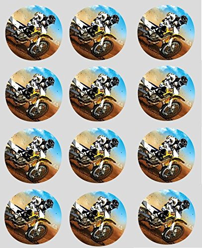 12 Motocross Cupcake Toppers 40mm rice paper fairy cake pre cut decorations by simply topps