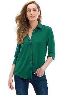 HIRIRI Womens Pure Color Casual Blouse Turndown Lapel Button Up Ladies Shirts Long Sleeve Stylish Tunic