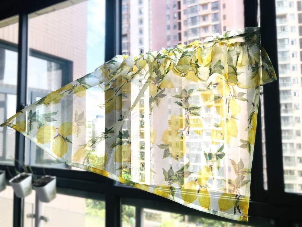 Curtains Scandinavian Cotton fabric Yellow Lemons Green Yellow Black Kitchen Valance Cafe curtains