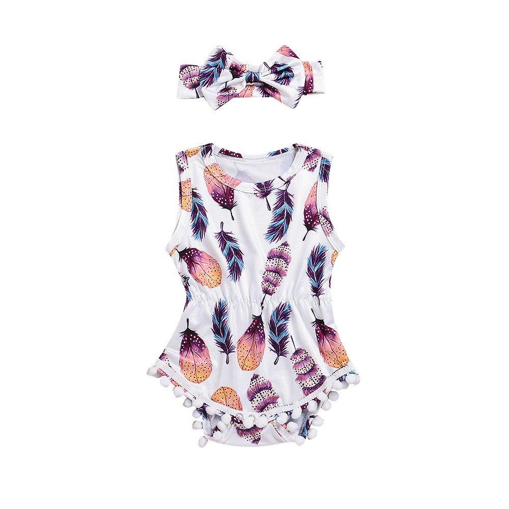 Lurryly 2PCS Infant Baby Girls Sleeveless Feather Romper Jumpsuit+Headband Set 0-24 M