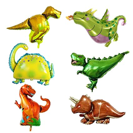 Amazon.com: 6 globos de dinosaurio Jurásico, suministros ...