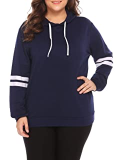 INVOLAND Womens Plus Size Pullover Hoodie Striped Long Sleeve Casual Sweatshirt