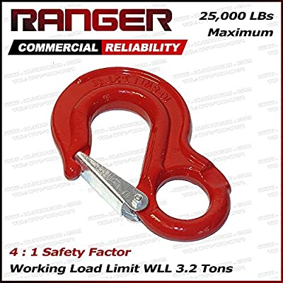 Ranger WLL 3.2 Tons G80 Eye Hook with Clevis Safety Latch for Hoist Sling Winch Tow Crane Lift by Ultranger (WLL 3.2 Tons Break Point 25,000 LBs)