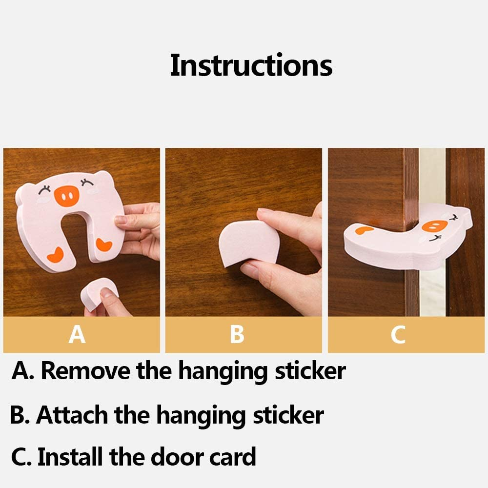 LRHD 3 Pieces of Cute Pig-Shaped EVA Door Stop Anti-Locking Silent Door Stop Anti-Collision Thickened Design No Trace of Paste Door Stop Easy to Store Childrens Anti-Pinch