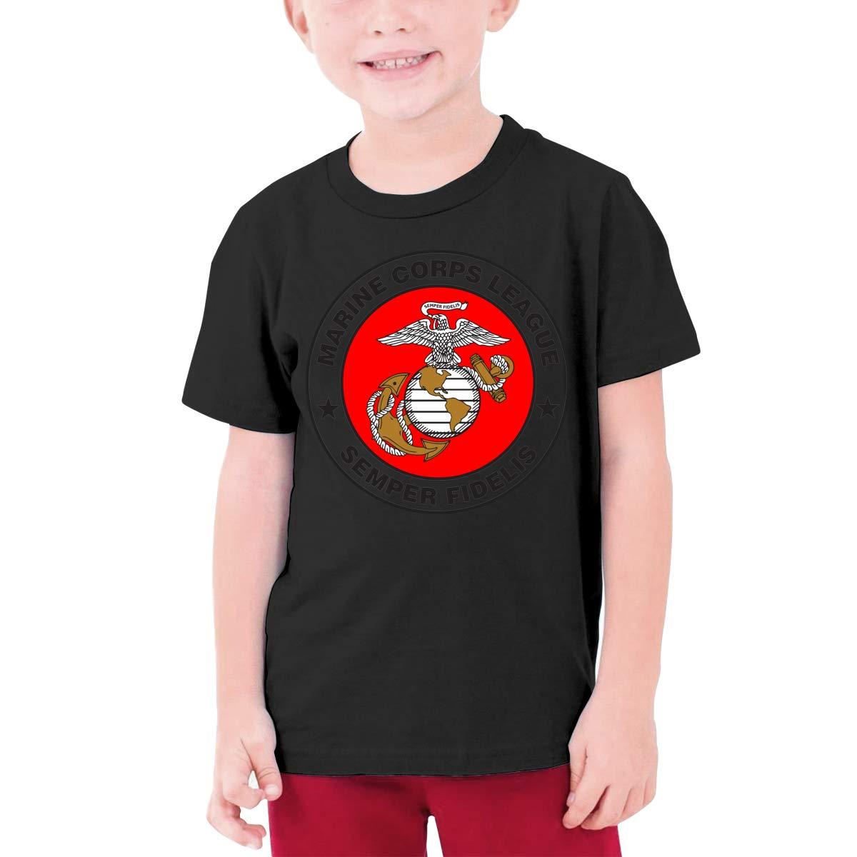 EROTEN Marine Corps League Logo Cotton Youth T Shirts Short Sleeve for Teenager Boys Girls