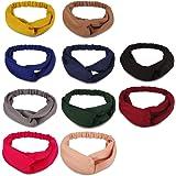 10 Pack Headbands Women Hair, Turban Headbands for Women Girls, Elastic Solid Head Wraps Hair Bands, Twisted Knot…