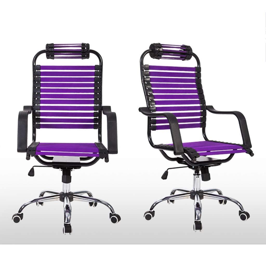 Stol kontorsstol skrivbordsstol ergonomisk svängbar nät uppgift stol hög rygg vadderad skrivbordsstol, kontor svängbar skrivbordsstol hög rygg stort säte 5 färger (färg: lila) Lila
