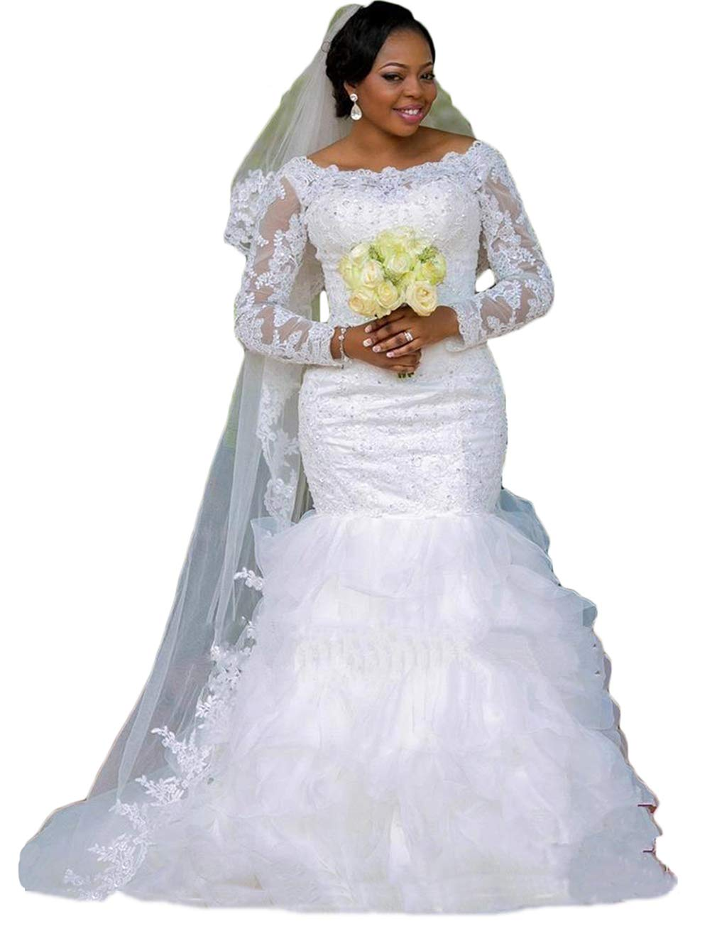 Womens Mermaid Wedding Dresses Ball Gown Long Sleeve Lace Beaded Wedding Dresses For Bride 2019 Plus Size White