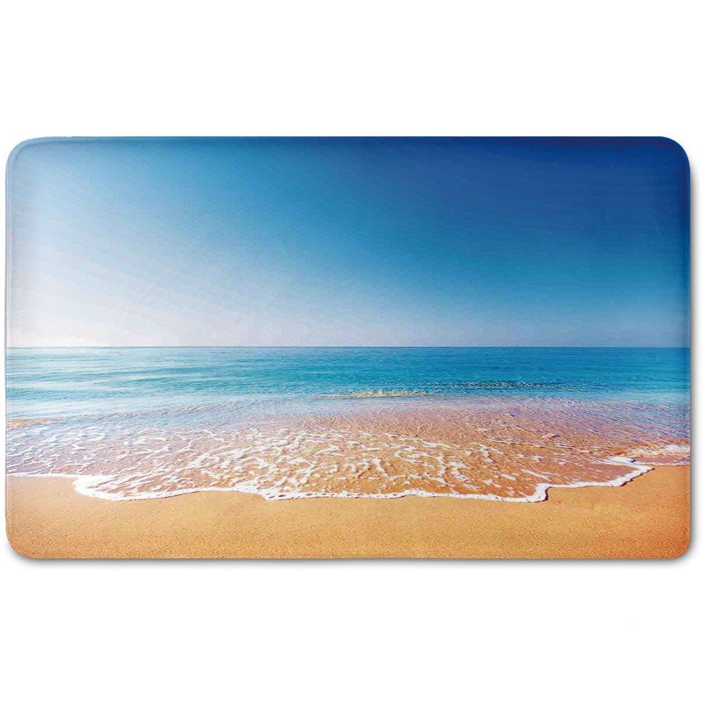 Memory Foam Bath Mat,Ocean,Golden Beach and Tropical Sea Scenery with Endless Sky on the Back Summer Sun Peace PrintPlush Wanderlust Bathroom Decor Mat Rug Carpet with Anti-Slip Backing,Cream Blue