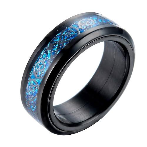 ALEXTINA Hombres Acero Inoxidable 8MM Céltico Dragón Carbón Fibra Embutido Hilandero Anillo Banda de boda Azul