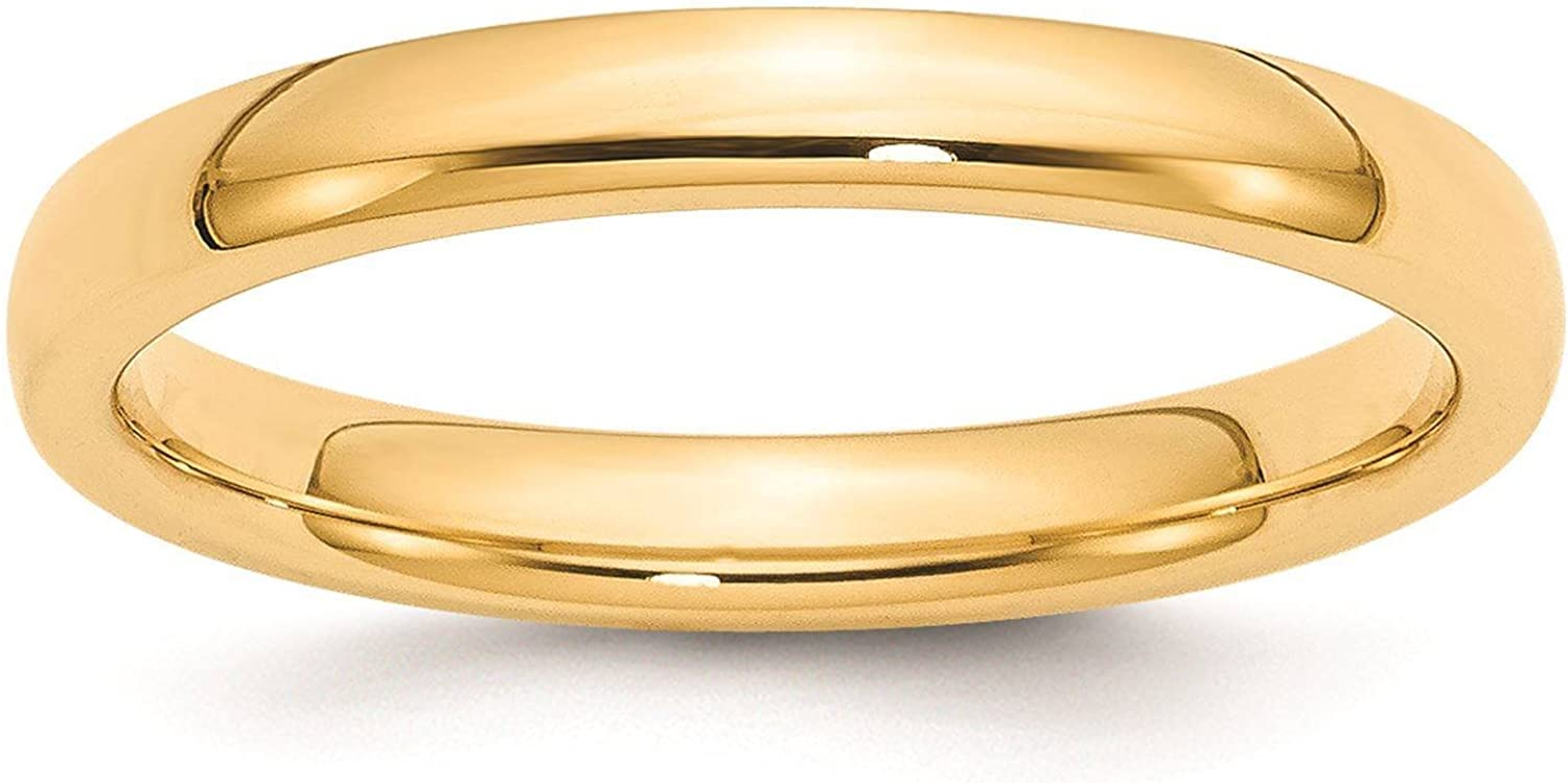 Full /& Half Sizes 14k Yellow Gold 3mm Standard Comfort Fit Wedding Ring Band Size 4-14