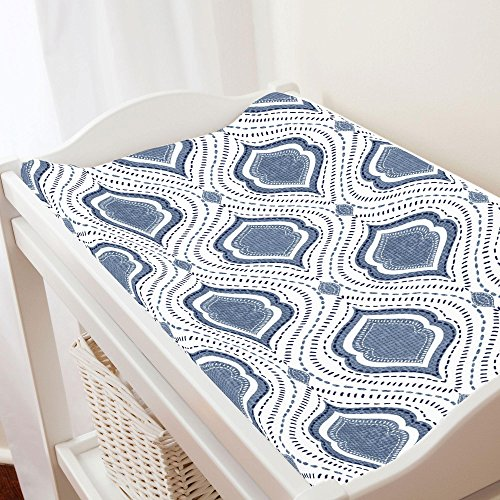 Carousel Designs Denim Moroccan Damask Changing Pad Cover - Organic 100% Cotton Change Pad Cover - Made in The USA (Changing Pad Denim)