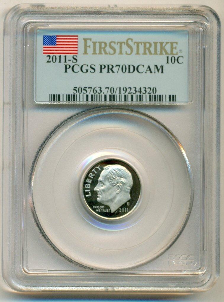 2011-S ROOSEVELT PROOF DIME 10c PCGS PR70DCAM