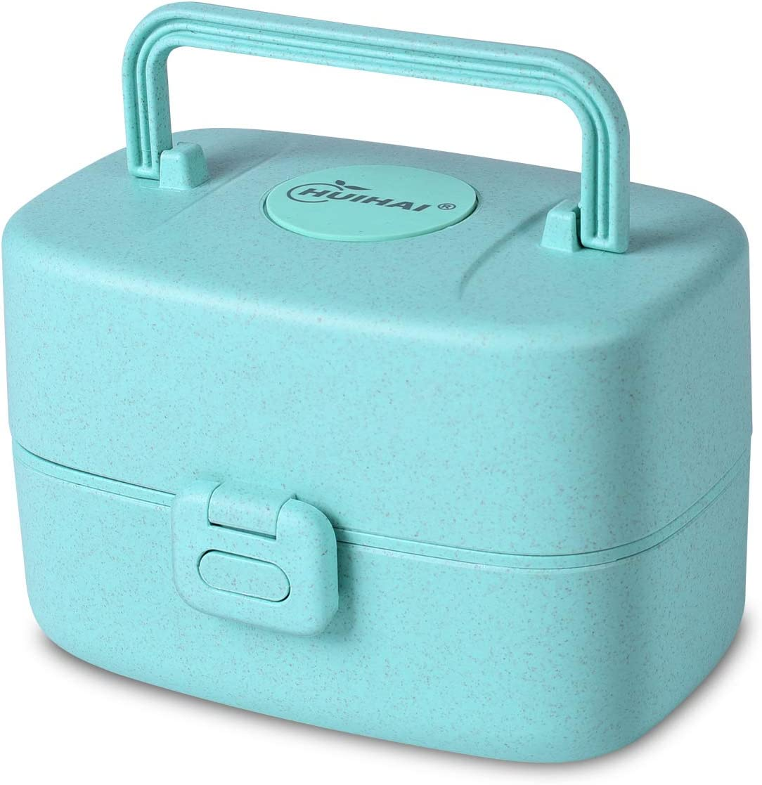 Lunch Container Kids, Lunch Box Toddler Bento Box Food Container Japanese Snack Box(Blue-A)