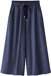 Elodiey Pantalon Large Femmes Taille Cordon À La Élastique À La 20 Ans Cheville Chel Pantalon Décontracté Poches Latérales Jambe Droite Jambe Large