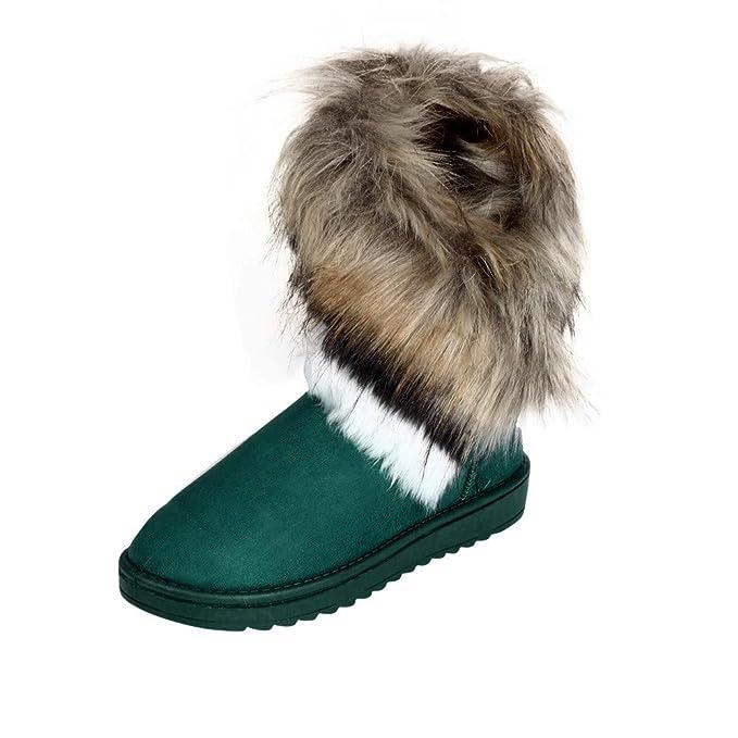 JiaMeng Zapatos de mujer Botas de Moda de Piel de Tobillo Plana Forradas de Invierno Zapatos