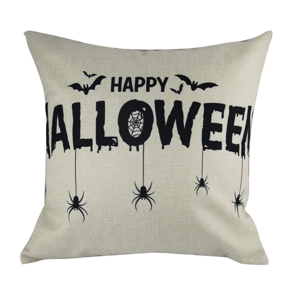 Hongxin 'Happy Halloween' Letter Pillow Cases,1PC 45cm×45cm Cotton Linen Bat Ghosts Cushion Cover Home Decor (C, 45cm×45cm)