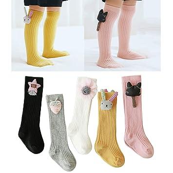 8fa5718a458 Amazon.com  5 Pairs Cute Unisex Baby Girls Boys Knee High Socks Animal Cotton  Socks Newborn Socks Kids Toddler Socks Leg Warmers Party Tube Stockings for  ...