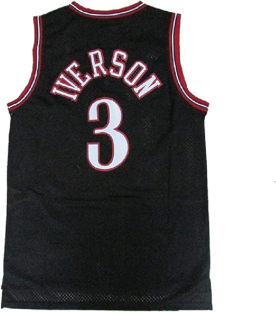Mens Iverson Jersey Basketball #3 Jerseys Allen Jersey Black S-XXL