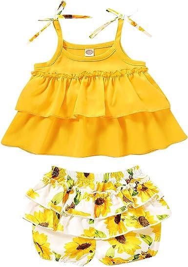 3PCS Toddler Baby Girl Summer Outfits Flower Strap Crop Tops Short Pants+Cute Headband Clothes Set