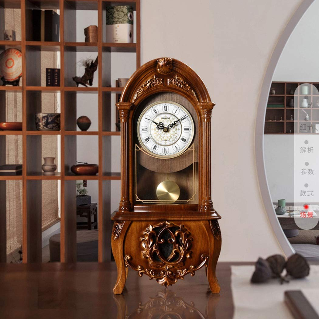 HONGNA European Retro Resin Clocks and Creative Home Clocks Living Room Large Vintage Pendulum Clock American Desktop Ornaments Desktop Clock 10 Inches (Color : Brown-Report time) by HONGNA (Image #9)