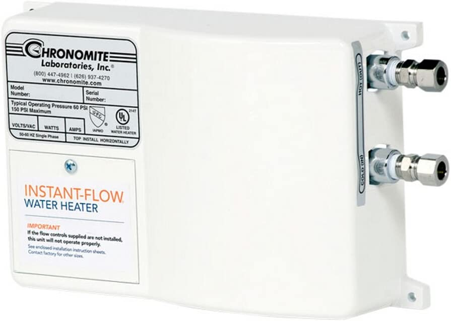 Chronomite SR-30L/120 HTR 120-Volt 30-Amp SR Series Instant-Flow Low Flow Tankless Water Heater - Inline Hot Water Heater -
