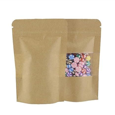 Bolsas resistentes con cierre hermético, papel marrón con ...