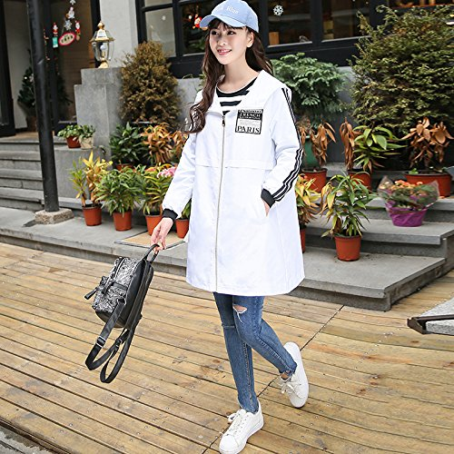 uniforme anorak femenino suelto Mayihang abrigo recta Blanco con Camiseta béisbol Ocio Larga de Capucha EvqWTqpS