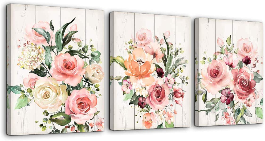 Pink Flower Home Decor Bathroom Wall Art Canvas Framed Wall Art for Girls Bedroom Bathroom Pictures Wood Grain Kitchen Modern Wall Decor Colorful Artwork for Walls Decoration Size 12x16 Each Panel