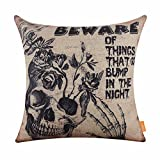 LINKWELL 18x18 inches Happy Halloween Scary Horrible Skull Burlap Throw Cushion Cover CC1181