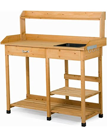 Yaheetech Potting Bench Outdoor Garden Work Bench Station Planting Solid  Wood Construction W/Sink Drawer