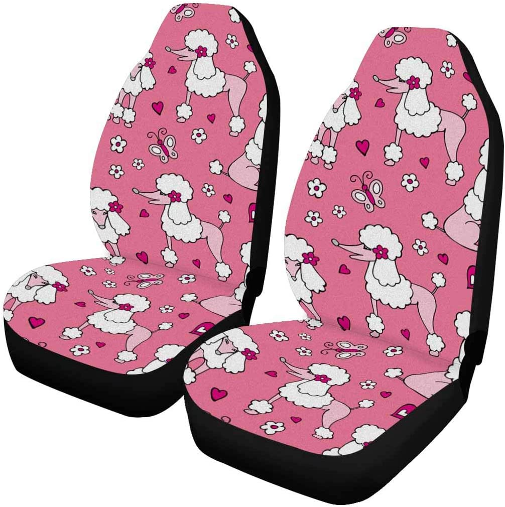 INTERESTPRINT Dog Poodle Gray Pink Front Seat Covers 2 pc, Car Front Seat Cushion Fit Car, Truck, SUV or Van