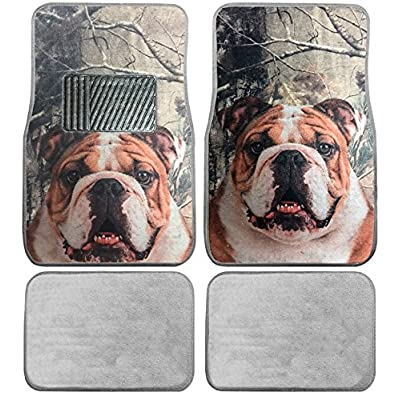 British Bulldog Custom Designed Car Truck SUV Universal-fit Front & Rear Seat Carpet Floor Bulldogs Doggy Mats - 4pc: Automotive