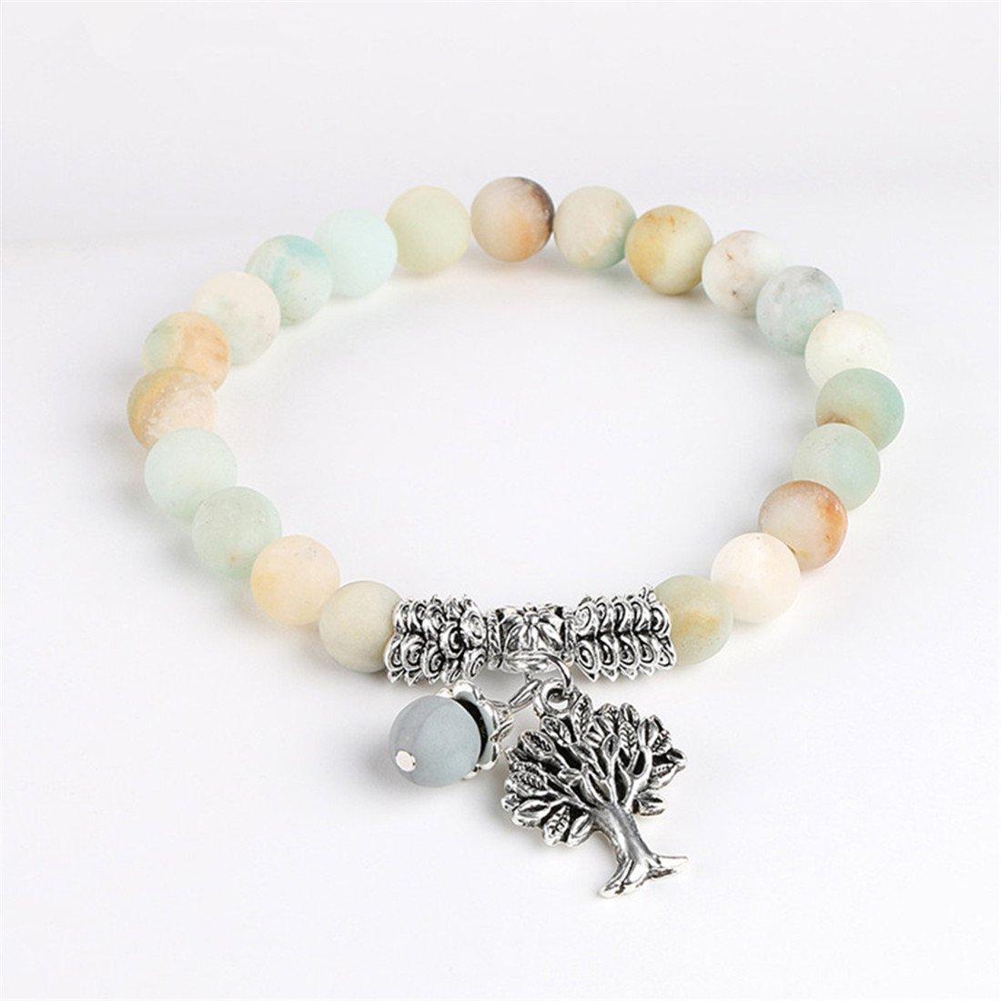 VWH White 8mm Frosted Agate Bracelet Lucky Tree Pendant Bracelet For Women