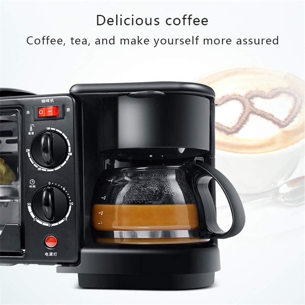 JIASHU Máquina de Desayuno 3 en 1 de Acero Inoxidable, cafetera para café exprés de 4 Tazas y 600 vatios, Horno ...