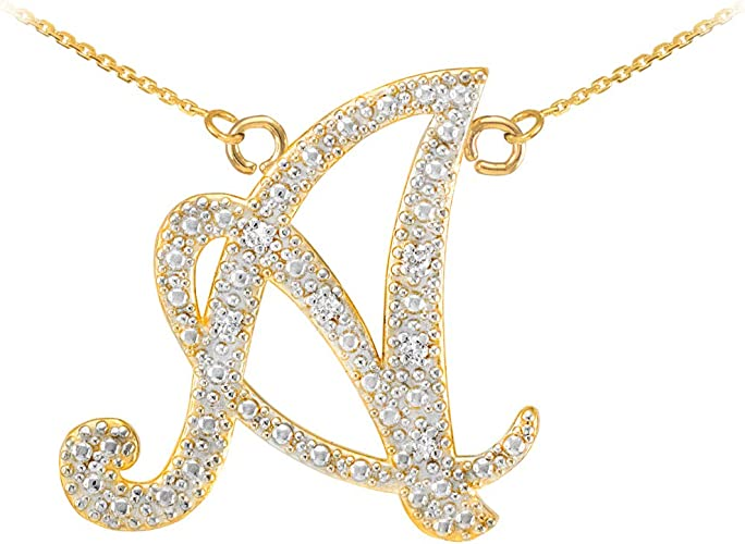 14k Gold Initial Letter M Charm Pendant A-Z in Yellow White /& Rose Gold