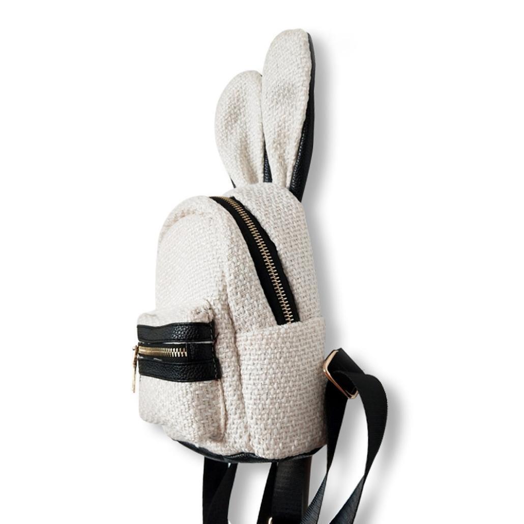 Zaino Tessuto Casual Moda da Donna,Sonnena Mini Zaino in Tessuto Zaino con Motivo di Lana Schoolbag Donna Fashion Ragazze Shoulder Bag Zaino Borsa a Tracolla da Viaggio per Donna  Bianco 6ff432