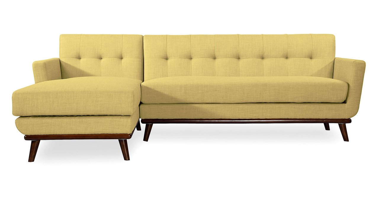 Kardiel Jackie Mid-Century Modern Sectional Sofa Left, Lemon Grass Tailored Twill